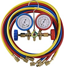OrionMotorTech 3FT AC Diagnostic Manifold Freon Gauge Set for R12, R22, R502 Refrigerants, Without Couplers