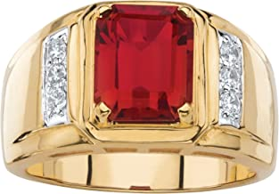 Palm Beach Jewelry Men's 18K Yellow Gold Plated Cushion Cut Red Genuine Garnet Round Genuine Diamond Ring (1/5 cttw, I Color, I3 Clarity)