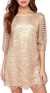 HAOYIHUI Women's Sparkly Sequin Half Sleeve Hollow Party Flapper Dress