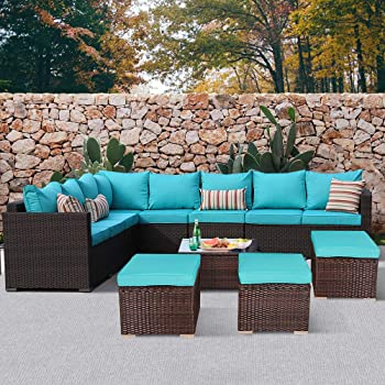Amazon Com Jetime Patio Furniture Outdoor Conversation Set 9pcs Garden Seating Outside Couch Brown Pe Wicker Turquoise Garden Outdoor