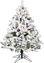 Vickerman 4.5-Foot by 44-inch Flocked Alaskan Pine Artificial Christmas Tree with 300 Clear Lights