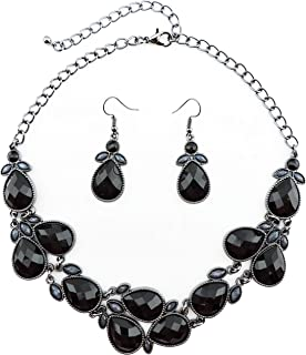 Shiny Resin Drill Collar Necklace with Earrings
