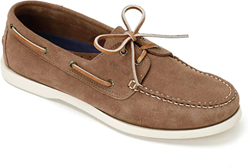 TOIO Mens HARBOUR schuhe MOCASSIN Handcrafter 100% leather Daino rubber sole with anti-slip tread Suede boat schuhe with laces and eyelets