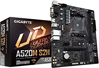 Gigabyte A520M S2H (AMD Ryzen AM4/MicroATX/4+3 Phases Digital PWM/Gigabyte Gaming GbE LAN/NVMe PCIe 3.0 x4 M.2/3 Display I...