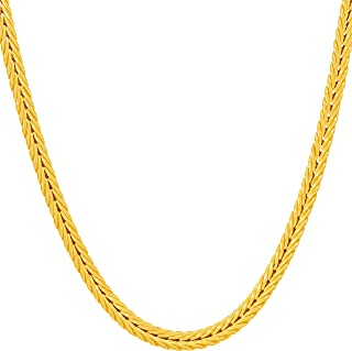 3.5mm Franco Chain Necklace for Women Men 24k Real Gold...