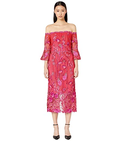 Marchesa Notte Off Shoulder Embroidered Guipure Tea Length Gown (Fuchsia) Women
