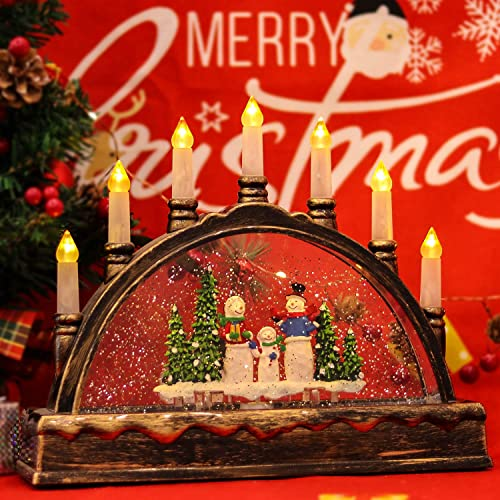 discount Eldnacele Christmas Water Glittering Snow Globe Lantern Musical Swirling Dome Arch, new arrival USB and Battery Operated Festival Ornament and wholesale Gifts for Adults and Children, Snowman online sale
