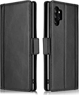 ProCase Galaxy Note 10+ Plus/5G Genuine Leather Case, Vintage Wallet Folding Flip Case with Kickstand Card Holders Magnetic Closure Protective Cover for Galaxy Note 10+ / Note 10 Plus /5G 2019 –Black