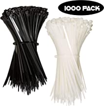 Nylon Zip Ties (BULK PACK OF 1000) 8 Inch Cable Ties in Black and White - 50lb Strength Tie Wraps - Perfect for Tying Cables, Wires, Organization, and So Much More!