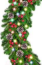 9 Foot by 10 Inch Christmas Garland - 50 LED Lights, Battery Operated Lighted Garland Wreath with Pine Cones Red Berries L...