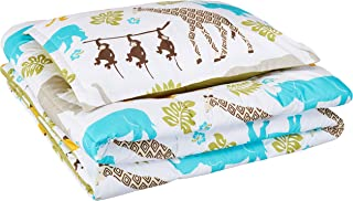 AmazonBasics Easy-Wash Microfiber Kid's Comforter and Pillow Sham Set - Twin, Multi-Color Zoo Animals