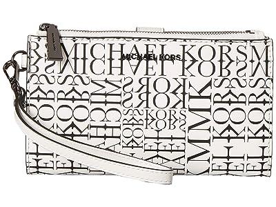 MICHAEL Michael Kors Double Zip Wristlet (Optic White/Black) Wristlet Handbags