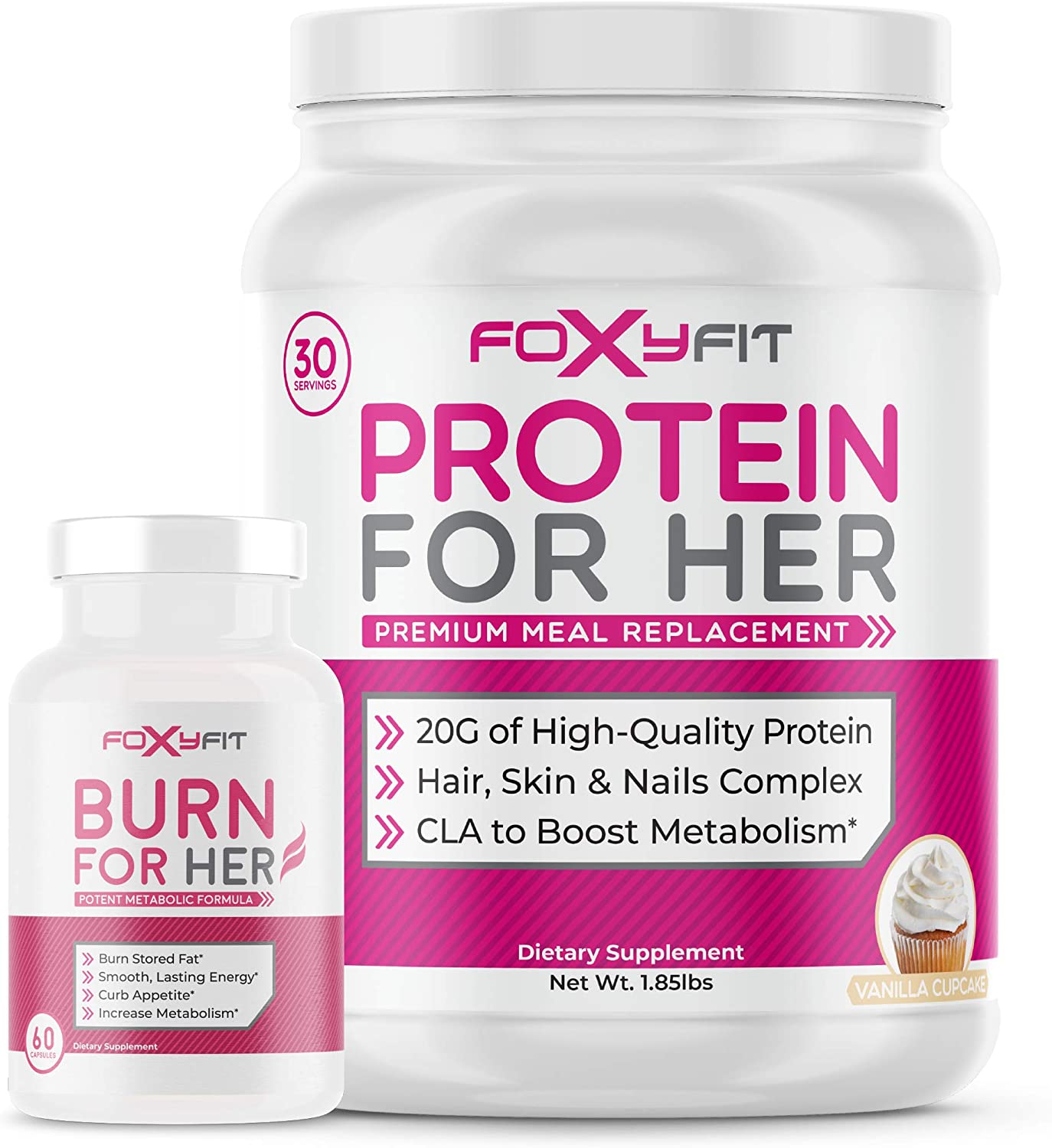 Burn for Her and Protein Vanilla Fit Cupcake W おすすめ レビューを書けば送料当店負担 Foxy by