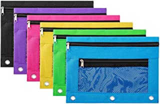 Pangda 6 Pack of 3-Ring Pencil Pouch Zipper Pencil Case with Mesh Window (Multicolor)
