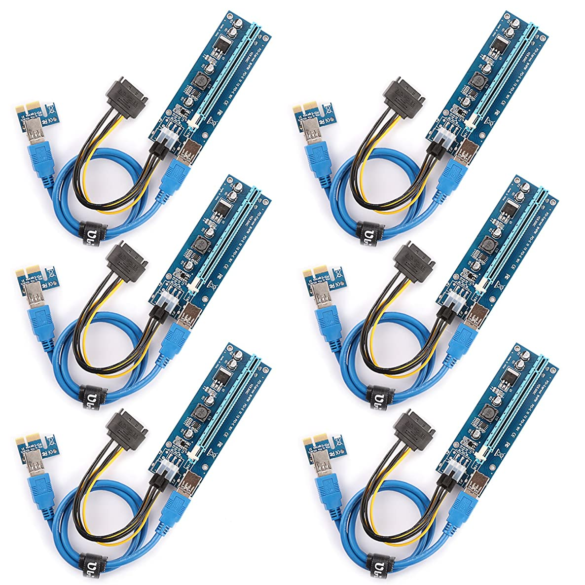 Ubit The 6 Pack PCI-E Riser for Bitcoin\Litecoin\ ETH Coin Mining Dedicated Graphics Card PCI-E Riser 1X to 16X Riser Card 164P / 60cm USB 3.0 Extension Cable & MOLEX to SATA Power Cable (Ver006C)