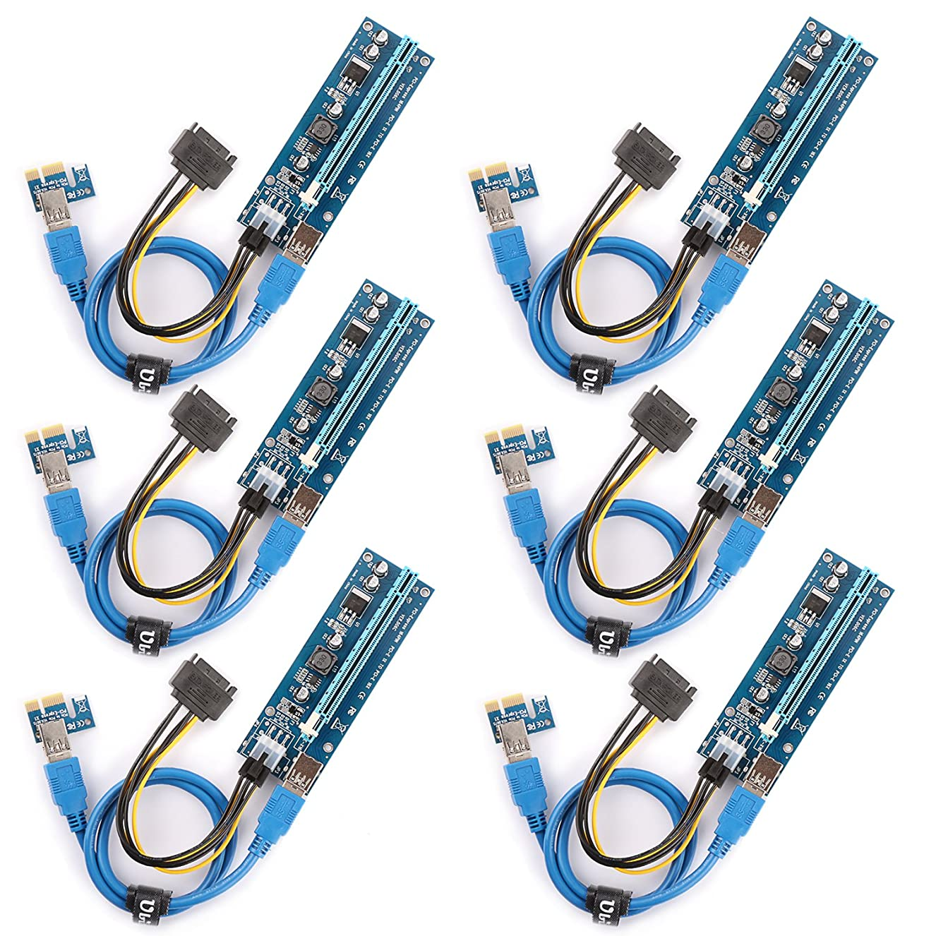 Ubit The 6 Pack PCI-E Riser for Bitcoin\Litecoin\ ETH Coin Mining Dedicated Graphics Card PCI-E Riser 1X to 16X Riser Card 164P / 60cm USB 3.0 Extension Cable & MOLEX to SATA Power Cable (Ver006C) ztyzmsvqfd6430