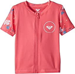 Roxy Kids - Shortbreak Short Sleeve Zipped Rashguard (Toddler/Little Kids)
