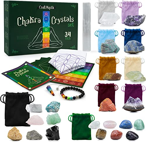 high quality Crystals and Healing Stones outlet sale for Positive Energy - online Bulk Pack 33 Authentic Rocks Gemstones Grid Necklace Bracelet - Chakra Healing Manifesting Spiritual Care Witchcraft Accessories - Witch Starter Box online sale