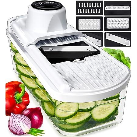 Mandoline Trancheuse à légumes et râpe à légumes – Trancheuse de pommes de terre, trancheuse de légumes, mandoline trancheuse de légumes, râpe à oignons, trancheuse de fruits pour fruits