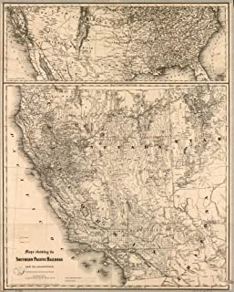 Vintage 1875 Map of Southern Pacific Railroad and its connections. Main map shows western states and includes relief by hachures, drainage, cities and towns, township and ranges, counties, railroads, and proposed railroads. General map, at top of sheet, covers the United States and shows the railroad network. First section, the Central Pacific linked California with Ogden, Utah, in 1869. The merging of the Central with the Southern Pacific was the inspiration of Leland Stanford, Collis P. Huntin