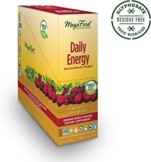 MegaFood, Daily Energy Booster Powder Singles, Supports Energy and Stamina, Drink Mix Supplement, Gluten Free, Vegetarian, 30 Packets (30 Servings) (FFP)