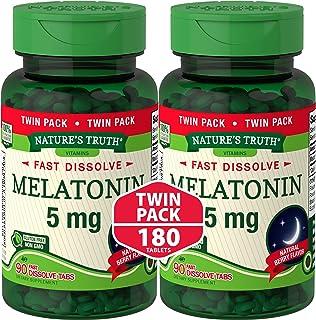 Melatonin 5 mg   180 Fast Dissolve Tablets (2 X 90 Twin Pack)   Nighttime Sleep Aid   Natural Berry Flavor   Vegetarian, N...