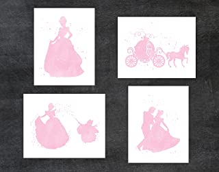 Cinderella and Disney Inspired - Set of 4 Pink Watercolor Poster Print Photo Quality - Made in USA - Frame not included (8x10, Cinderella 4 Pack - Pink)
