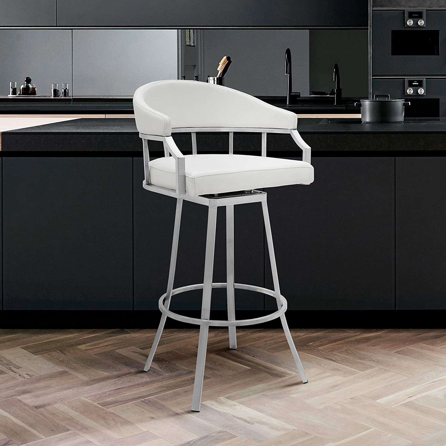 Buy Valerie Swivel Modern Faux Leather Bar and Counter Stool in ...