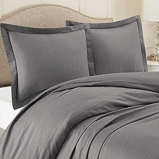 "Nestl Bedding Duvet Cover 3 Piece Set – Ultra Soft Double Brushed Microfiber Bedding – Damask Dobby Stripe Comforter Cover and 2 Pillow Shams - King/Cal King 90"" x 104"" - Dark Gray"