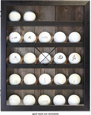 Lawrence Frames 531011 11x14 Golf Display Case-Holds 25 Logo Balls Shadow Box Frame, Black