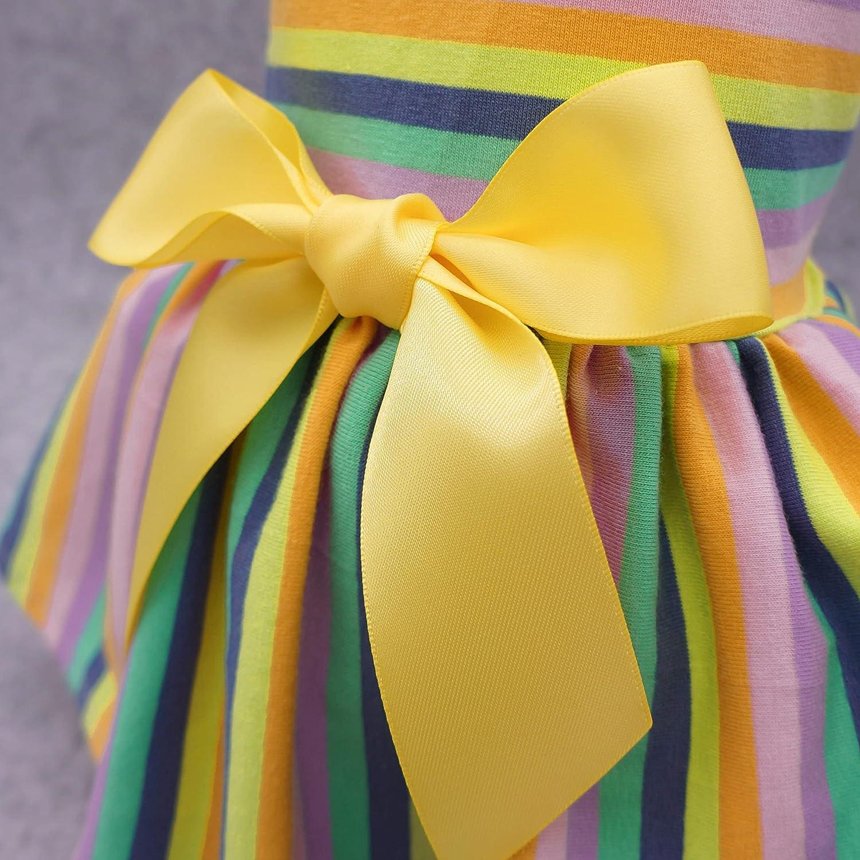 Fitwarm 100/% Cotton Dog Dresses Pet Clothes for Doggie Striped Dress Cat Vest Puppy Shirts Colorful Rainbow