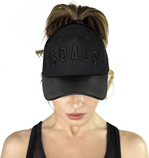 Goals High Ponytail Hat for Women Embroidered Strapback Baseball Cap Dad Hat