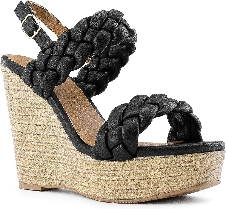 RF ROOM OF FASHION Women's Woven Slide On Slingback Espadrille Platform Wedge Sandals