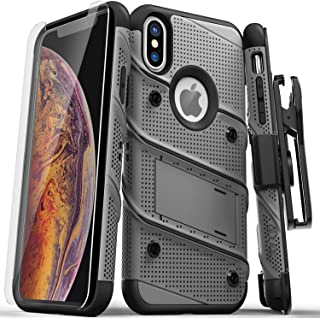 ZIZO Bolt Series iPhone X Case Military Grade Drop Tested with Screen Protector, Kickstand and Holster iPhone Xs Metal Gray
