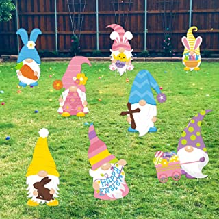 Huray Rayho 8 Pack Easter Gnome Yard Signs with Stakes Outdoor Lawn Decorations Large Easter Bunny Gnomes Easter Swedish T...