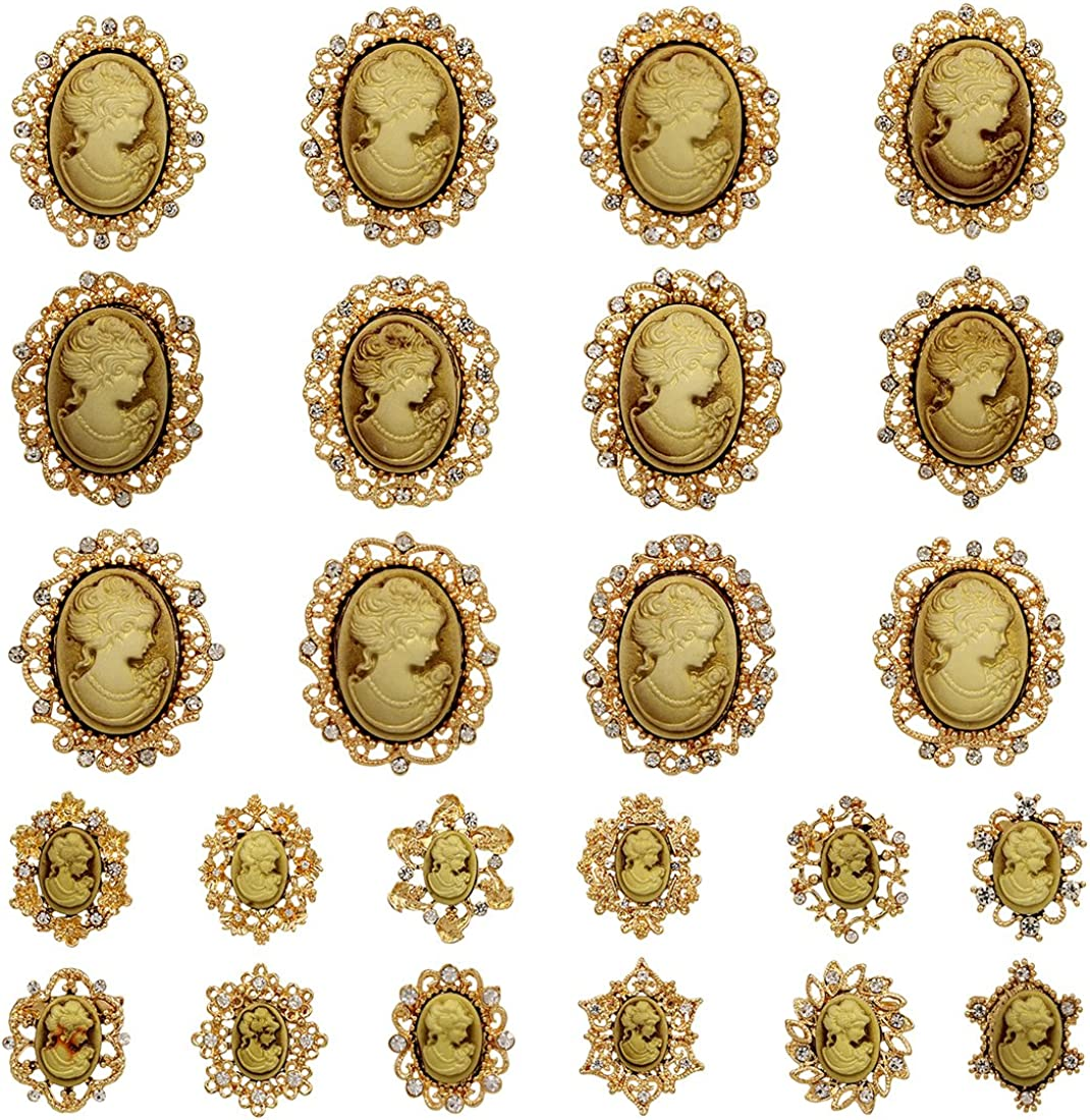 WeimanJewelry Lot 24pcs Crystal Rhinestone Flower Vintage Victorian Cameo Brooch Pin Set for Women