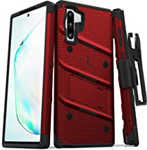 ZIZO Bolt Series Samsung Galaxy Note 10 Case   Heavy-Duty Military-Grade Drop Protection w/Kickstand Included Belt Clip Holster Lanyard (Red/Black)