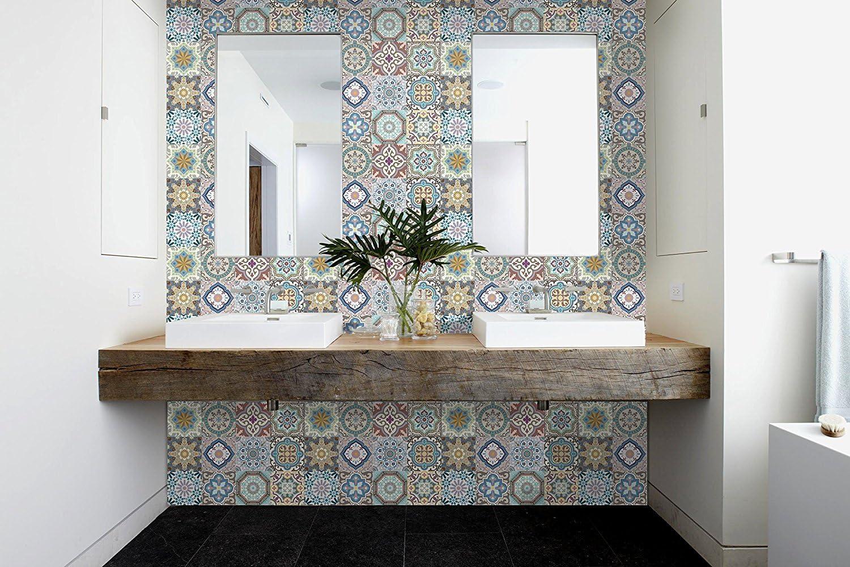MARRUECOS Decorative Tile Stickers Set 12 Units 6x6 inches. Peel & Stick Vinyl Tiles. Home Decor. Furniture Decor. Backsplash.