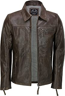 Xposed Mens Real Leather Jacket Classic Collar Retro Zip Up Biker Style Smart Casual Slim Fit