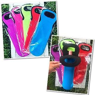 SET OF 5 BLANK SOLID COLOR, Neoprene Wine Bottle Insulator Cooler Carrying Case, Gift Bag, USE AS VINYL BLANK FOR HTV HEAT TRANSFER VINYL