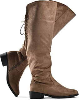 Women's Knee High Flat Boots Lace Up Cushioned Lining Drawstring Tall Western Riding Boots