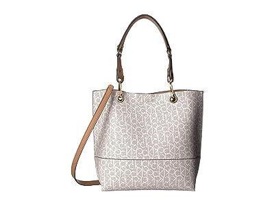 Calvin Klein Logo Tote (Almond/Khaki) Tote Handbags
