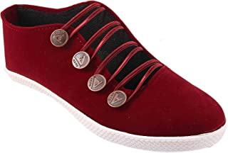 Red Choice Collection Women's Front Button Design Royal Cherry Casual Patywear Shoe