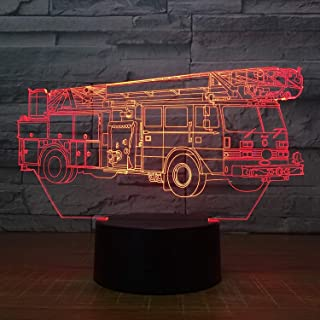 YTDZ Creative 3D Fire Truck Night Light 7 Colors Changing USB Power Touch Switch Decor Lamp Optical Illusion Lamp LED Table Desk Lamp Children Kids Brithday