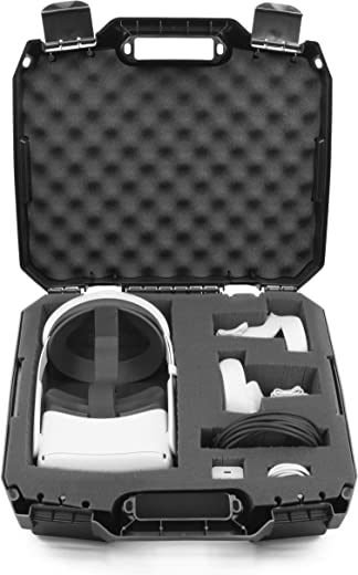CASEMATIX Hard Case Compatible with Oculus Quest 2 and Oculus Quest VR Gaming Headset & Accessories - Hard Case with Customizable Foam fits Elite Strap and Other Accessories