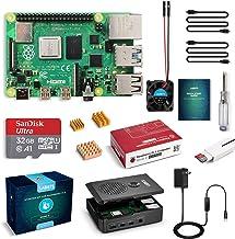 LABISTS Raspberry Pi 4 4GB Starter Kit with 32GB Micro SD Card Preloaded Raspberry Pi OS (Raspbian), Black Case, Heatsinks...