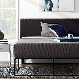 LUCID Upholstered Mid-Rise Headboard with Nailhead Trim Platform, Twin/Twin XL, Black