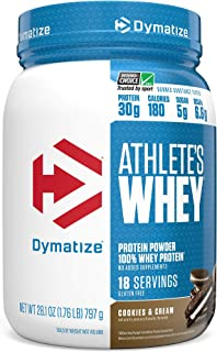 Dymatize Athlete's Whey Protein Powder, 30g of Protein, 6.6g BCAAs, Banned Substance Tested & Gluten Free, 1.8 Pound, Cook...