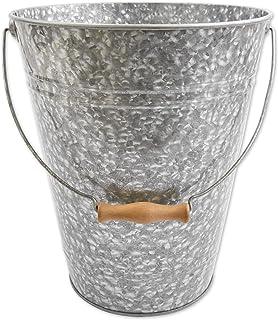 "Walford Home Galvanized Trash Can Bucket, Decorative Garbage Waste Basket for Bathroom, Bedroom Decor, Vintage Farmhouse Metal Utility Pail, 12"" x 10"""