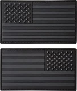 LEGEEON Set of 2 All Black ACU Dark Hook&Loop PVC Rubber Patches USA American Flag Morale Army